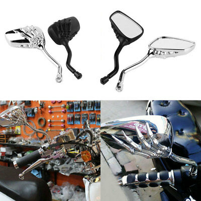 2x UNIVERSAL CHROME SKELETON SKULL HAND CLAW MOTORCYCLE REAR VIEW MIRRORS 8/10MM