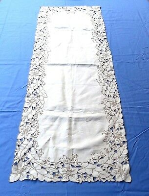 Antique Linen Table Runner Dresser Scarf 15x41 Hand Embroidered Floral