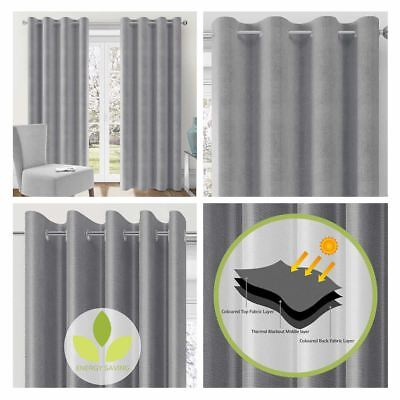 Lismore Silver Grey Thermal Block Out Eyelet Curtains Ready Made Blockout Pairs
