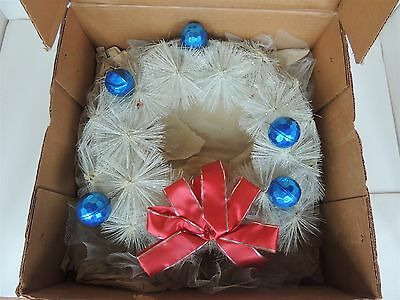 Vintage old christmas white bottle brush wreath ornaments Glitter Novelty w/box