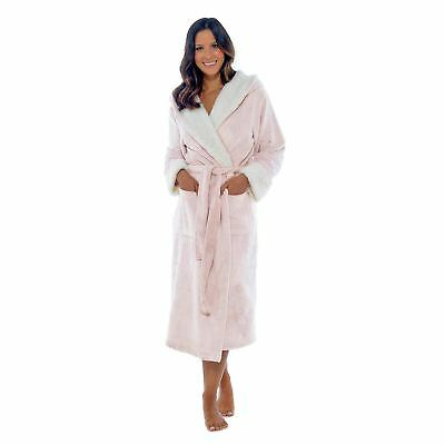 Wolf   Harte Ladies Hooded Dressing Gown Shimmer Fleece Bathrobe House Coat eef00a6c8