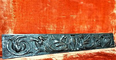 Griffin scroll leaves pediment Antique french wooden carving applique panel trim
