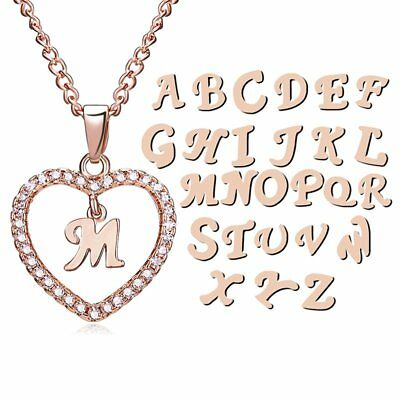 Initial 26 Letters A-Z Alphabet Heart Crystal Pendant Necklace Women Jewelry Hot