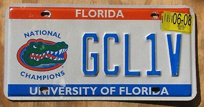UNIVERSITY of FLORIDA NATIONAL CHAMPS license plate  2008  GCL1V