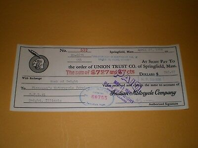 Old 1948 Indian Motorcycle Bank Canceled Check Dwight IL Motorcycle Dealer