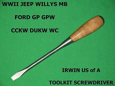 Vtg WWII Willys MB Ford GP GPW Jeep CCKW IRWIN US of A Screwdriver Tool