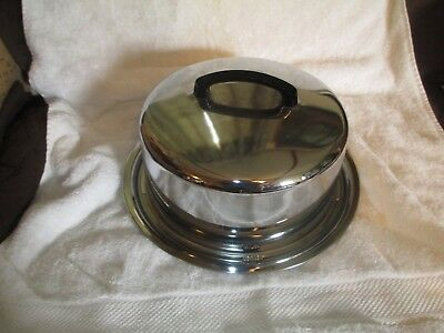 """Vintage Eveready KAKE-TOTER Chrome Cake Carrier 13"""" w/ Locking Cover Handle"""