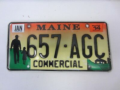 "Maine 2014 Colorful Commercial License Plate ""657-AGC"" as pictured."