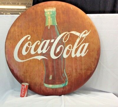Vintage Large  Round  ( COKE ) Coca Cola Metal Button Advertising Sign 36""