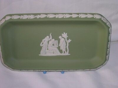Lovely Wedgwood green jasper ware oblong dish/pin tray (a)