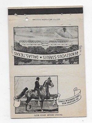 Vintage Matchbook Cover RENDEZVOUS STABLES Dallas TX Horse Lovely McDonald S2716