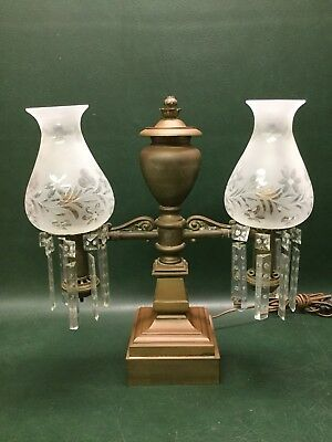 Antique Victorian Cast Brass Double Arm Astral Argand Lamp w/ Prisms Electrified