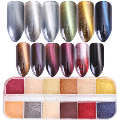 12 Colors Nail Art Cat Eye Powder Glitter Holograhic Changing Tips Decoration Se