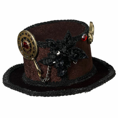 Steampunk Brown Victorian Cocktail Mini Top Hat Costume Accessory Women Monocle