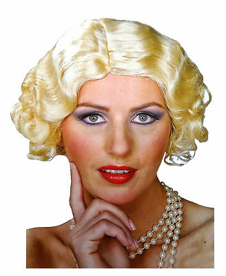 Flapper Blonde Wig Roaring 20's Flirting Wave Curl Short Style Costume Accessory