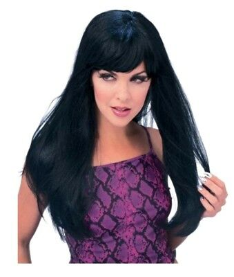 """Glamour Black Costume Wig 24"""" Bangs Halloween Accessory Women's Witch Sorcercess"""