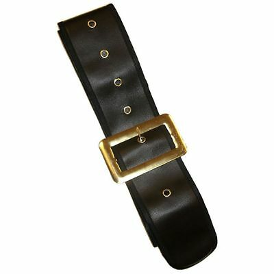 "Deluxe Black 4"" Belt & Buckle Santa Claus Pirate Buccaneer Renaissance Accessory"