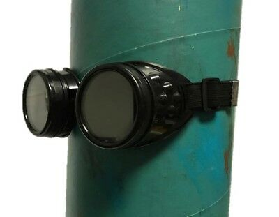 Black Victorian Steampunk Costume Goggles Glasses Mens Welding Cyber Adult