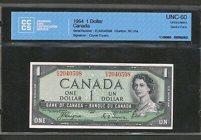1954 $1 DEVIL's FACE Bank of Canada CCCS Uncirculated UNC60. Coyne-Towers BV$150