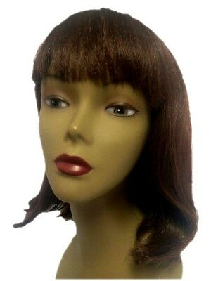 Brunette Brown Pageboy Wig Goth 50s 60s Long Bob Womens Ladies Costume Accessory