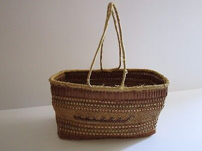 Makah Antique Native American Indian Basket Handles Carrying Birds Pictoral
