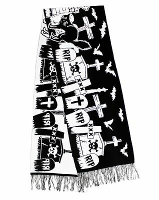 Halloween Graveyard Black N' White Knitted Winter Scarf Gothic RIP Tombstones