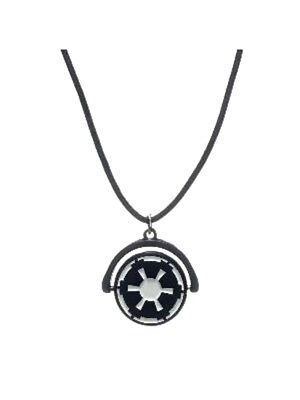 Star Wars Spinner Suede Cord Necklace Imperial Galactic Empire Logo Pendant