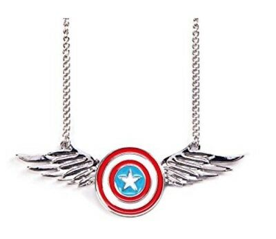 Marvel Captain America Shield Logo with Wings Metal Necklace Costume Jewelry