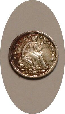 1854 P with arrows Seated Liberty Half Dime FULL DETAIL