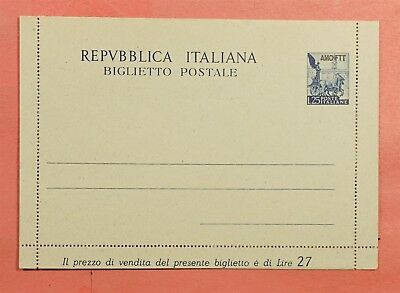 Italy Amg-Ftt Trieste Overprint Letter Card Stationery Unused