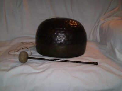 "Japanese Buddist Temple Copper Engraved Bell & Striker 10.5"" across Base"