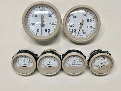 Faria Euro Beige Boat/Pontoon 6 Gauge Set~6K RPM MPH Fuel Oil Temp OMC Trim
