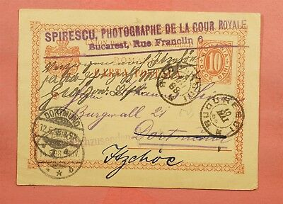 1898 Romania Postal Card Bucharest To Germany Forwarded