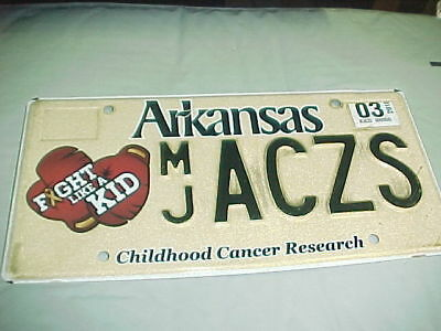 Arkansas License Plate Childhood Cancer Research Fight Like A Kid MJ ACZS