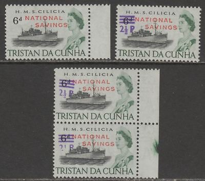 Tristan da Cunha 1970-71 QEII National Savings 6d, 2½p on 6d, Variety Pair Mint