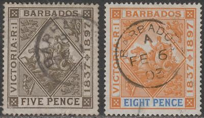 Barbados 1897 QV Diamond Jubilee 5d, 8d Used SG120 SG122 cat £47