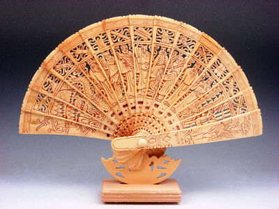 """11.5"""" Bone Trees Peaches Floral Dragon Birds 8 Immortals Hand Carved Fan & Stand"""