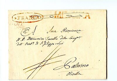 Italy Stampless Cover 1832 Messina>Palermo Nice Cancels outlined FRANCA