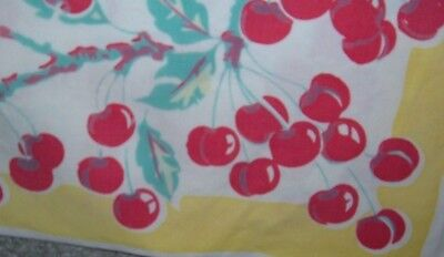 Vintage Tablecloth Red Cherries Strawberries