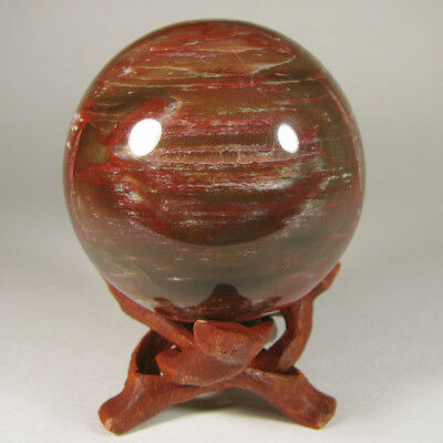 "2.2"" PETRIFIED WOOD Sphere Ball w/ Stand - Madagascar - 56mm"