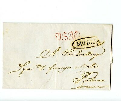 Italy Stampless Cover 1830 Modica>Palermo Nice cancels + Personal letter