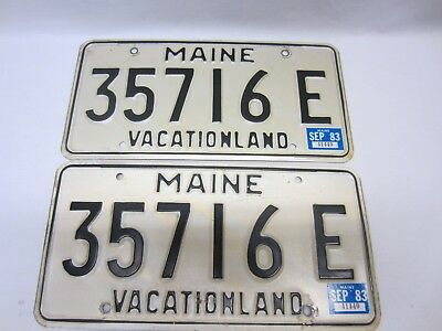 "Pair of Maine 1983 License Plates ""35716 E"" as pictured."