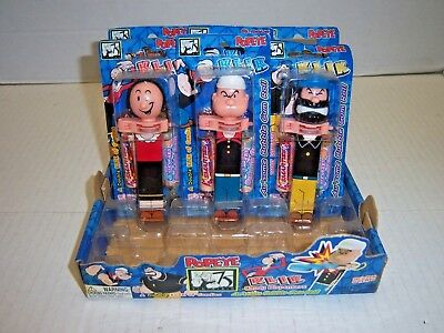 lot of 6 (2 of each) Popeye Klik candy dispensers w/ store counter display
