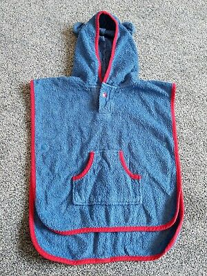 Little White Company Blue Red Hooded Towel 0-6 Months