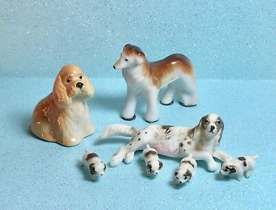 Three Porcelain Miniature Dogs, Four Teeny Tiny Puppies