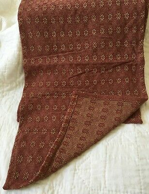 """Primitive Style Woven Runner Cranberry Red Tan Farmhouse 14"""" x 56""""  Table Cover"""