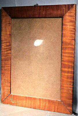Antique Early American Country SOLID Tiger Maple Picture Frame Old Surface 14x10