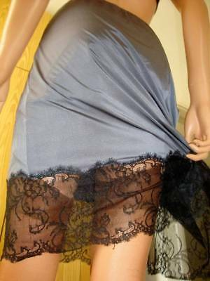 Vtg M&S Charcoal Grey Ultra Silky & Very Deep BLACK Lace Hem Half Slip Petticoat