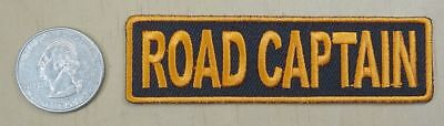 "ROAD CAPTAIN - ORANGE & BLACK  IRON-ON SEW-ON  EMBROIDERED PATCH 3 1/2 "" x 1 """