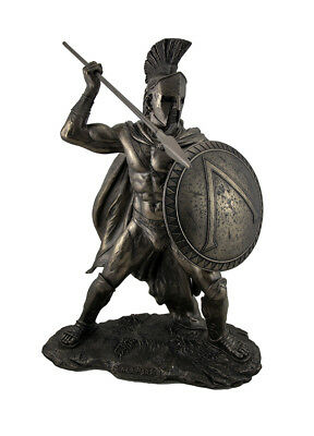 Large Spartan King Leonidas with Sword and Shield Bronzed Statue